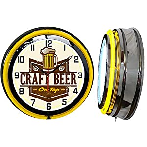 Checkingtime LLC 19″ Craft Beer On Tap Neon Clock, Yellow Outside Tube, Two Neon Tubes