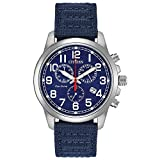 Citizen Men's Eco-Drive Stainless Steel Quartz Nylon Strap, Blue, 20 Casual Watch (Model: AT0200-21L)