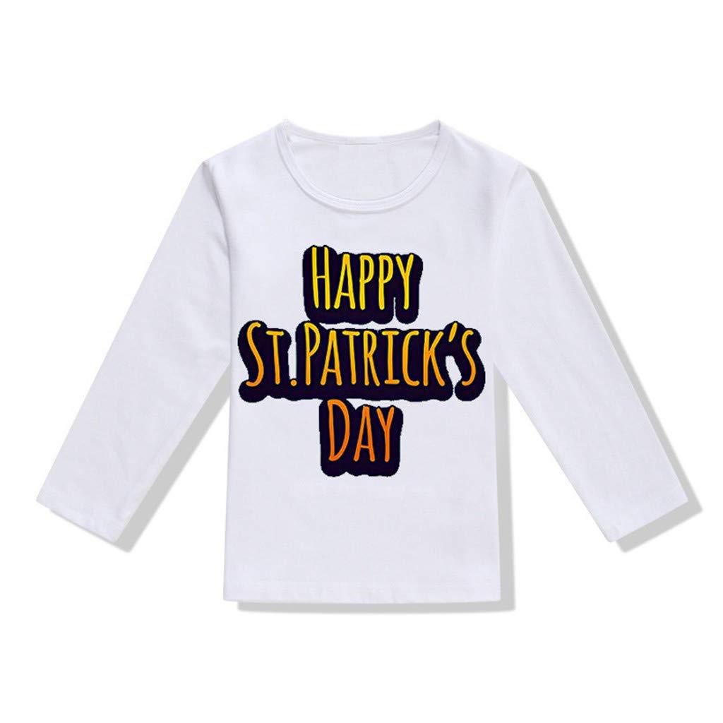 DealinM Toddler Baby Boy Girl Sweatshirt Long Sleeves Letter Print Pullover Shirt Tops St.Patrick's Day T Shirt Irish White