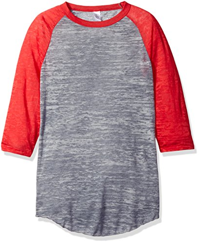 Alternative Men's Classic Burnout Big League Baseball Tee, Grey Heather/Red XS