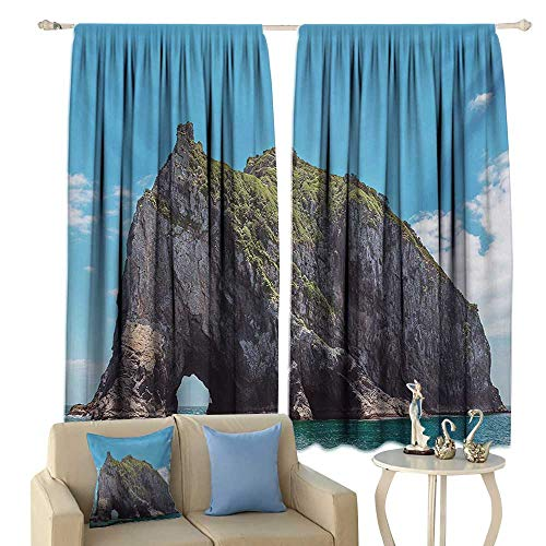 Insulated Sunshade Curtain Beach Famous Elephant Shape Rock with The Grand Hole in Bay of Islands Nz Cavern Peaceful Noise Reducing Blue -