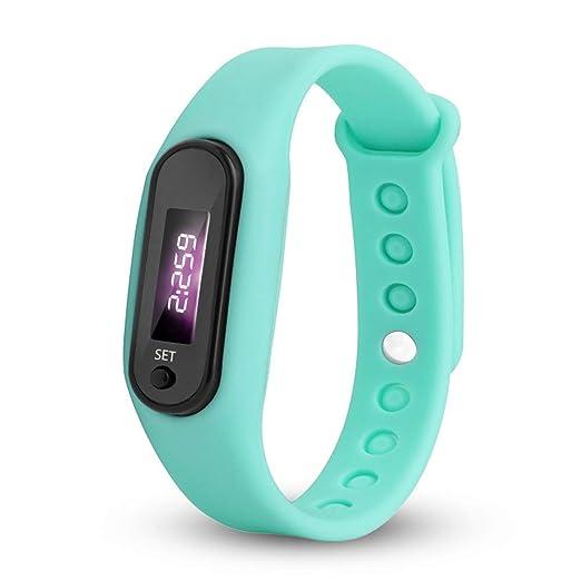 ☆ JW☆Reloj de Pulsera para Hombre, podómetro, Contador de calorías, Pantalla LCD Digital, para Caminar, Distancia y Pasos, para Correr, Color Azul ...