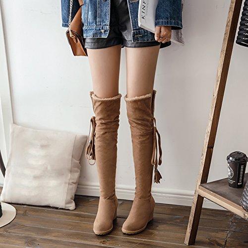BIGTREE Bottes de genou Femme Casual Lacets Automne Hiver Compensées Confortable Chaudes Bottes Longues De Jaune