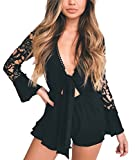Nicetage Women's Pom Pom Detail Knotted Front Lace Sleeve Frill Short Romper Jumpsuit 81101 Black XL