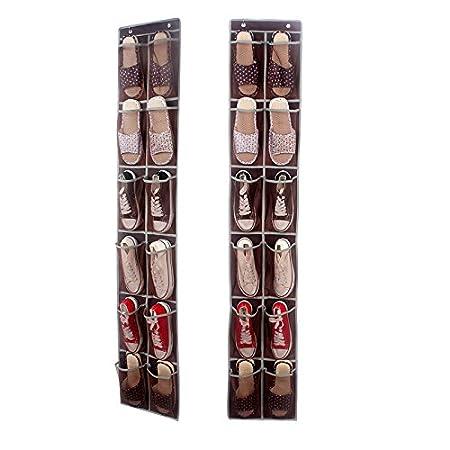12 Tasche Wandschrank Ordnungssystem Systematik Organizer Schuhe H/ängender Tasche H/ängeaufbewahrung Nylon Mesh-braun 168x30cm KTOL 2 Player Schuhaufbewahrung Aufbewahrungstasche