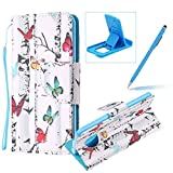 Herzzer Wallet Case for Moto G6 Plus,Strap Leather Case for Moto G6 Plus, Premium Ultra Slim Colorful Butterfly Pattern Magnetic PU Leather Stand Card Slot Cover with Soft Rubber