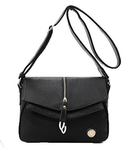AllhqFashion Femme Pu Cuir Des sacs Achats Zippers Sacs à bandoulière,FBUFBD180871 Noir