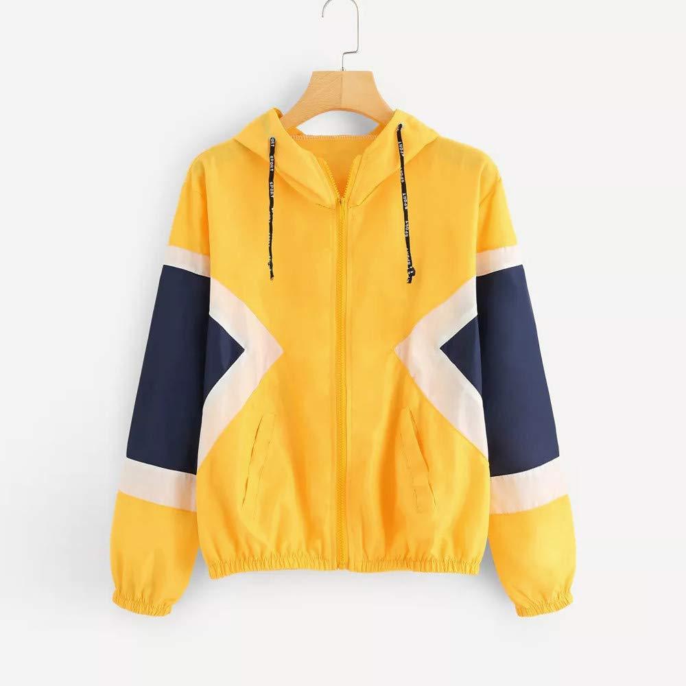 Geili Jacke Damen Herbst Langarm D/ünne Sportjacke Trainingsjacke mit Kapuze Mode Frauen Farbe Block Patchwork Sweatshirt Kapuzenjacke Zip Mantel Rei/ßverschluss Windjacke Outwear