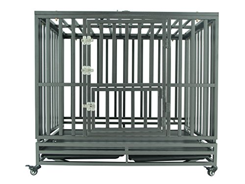 SMONTER 42″ Heavy Duty Strong Metal Dog Cage Pet Kennel Crate Playpen with Wheels, I Shape, Dark Sliver