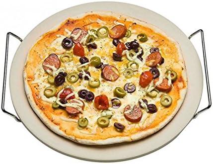 Pizzastein mit Metallgestell 33 cm Ø - Brotbackstein - Backstein - Pizza Stein - Backstein - Pizzateller - Flammkuchen Stein