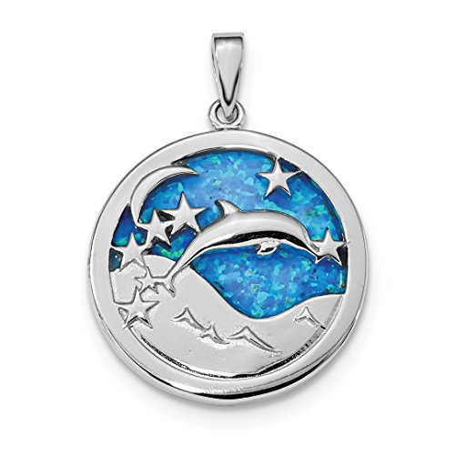 925 Sterling Silver Blue Inlay Created Opal Dolphins Pendant Charm Necklace Sea Life Dolphin Fine Jewelry For Women Gift Set (Charm Gold Turtle Italian)