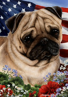 Best of Breed Pug Fawn Patriotic Garden Flags