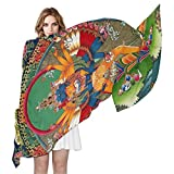 Vintage Distressed Tibetan Buddhist Thangka Women's Silky Scarf Shawl Wrap for Lady, 70.8''Lx35.4''W