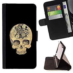 Jordan Colourful Shop - skull time black meaning deep death For Apple Iphone 4 / 4S - < Leather Case Absorci????n cubierta de la caja de alto impacto > -