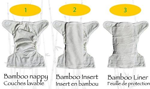 Petit Marin - Pañal Lavable con Inserto Relleno de Bambú - Pañal Reutilizable Ajustable - Pañal de Tela - Pañal Ecológico - Tamaño Ajustable Recién Nacido a ...