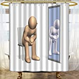 AmaPark Water-repellent Fabric Shower Curtain Liner he is think about identity look at himself in the mirror for Bathroom Water-Repellent Hotel Quality
