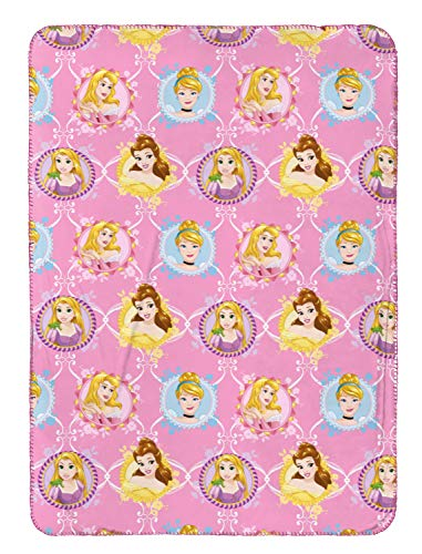 Jay Franco Disney Princess Travel Blanket - Measures 40 x 50 inches, Kids Bedding Features Disney Princess - Fade Resistant Super Soft Fleece - (Official Disney Product) Disney Princess Fleece Throw