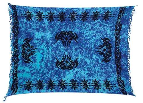 Sarong Pareo Wickelrock Strandtuch Tuch Wickeltuch Handtuch Blickdichter Schal Set Gratis Schnalle Schließe Keltisch Blau