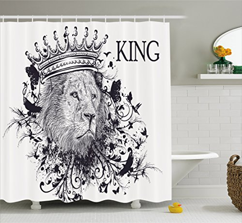 Ambesonne King Shower Curtain, Reign of the Jungle Forest Symbol of Courage Safari Animal Lion Grunge Design, Fabric Bathroom Decor Set with Hooks, 70 Inches, Dark Blue White
