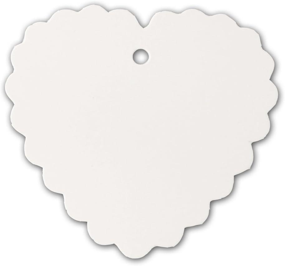 2 1//2 x 2 3//8 blanc inf/érieur Crafts 100//étiquettes festonn/é C/œur avec Jute 30,5/m