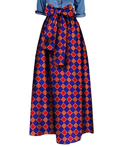 Tootless Women's Big Pendulum Waist Bowknot African Print Dashiki Long Skirt 13 2XL by Tootless-Women