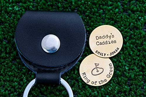(Custom Golf Ball Markers - DII QQQ - Golfer Placer Daddy Handstamped Handmade - 7/8 Inch Silver Brass Copper Discs - Leather Case - Fast 1 Day Ship)