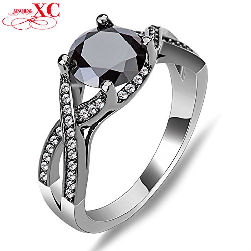 AYT Hot Sale Fine Jewelry Wedding Finger Rings Lady's Men's Fashion Black Sapphire AAA Zircon anel Black Filled Ring 6.0