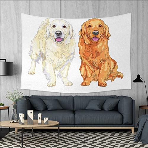(Anniutwo Golden Retriever Large tablecloths Smiling Pale and Red Gun Dog Breed Sitting and Staying Thoroughbred Wall Hanging Tapestries W84 x L54 (inch) Orange Ivory Pink)