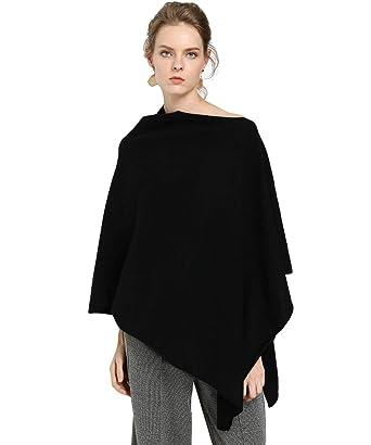 c76421467 Black Pure Cashmere blanket designer Scarves Women Ladies Pashmina Pullover  Tops Coat Christmas Gifts (Black