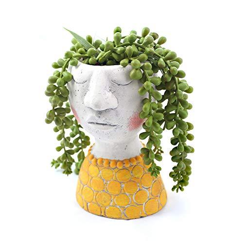 YIKUSH Head Planter Cement Flower Pot for Plant Flower Planter – 6inches H,Set of 1