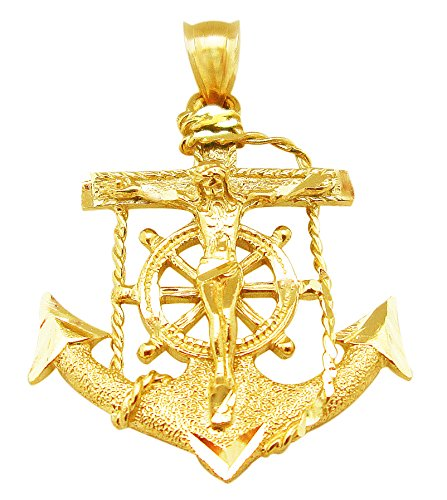 AMZ Jewelry 10k Yellow Gold Mariners Cross Anchor Charm Crucifix Pendant