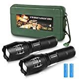 Tactical Flashlight with Rechargeable Battery,Charger,Flashlight Holster,Handheld Zoomable LED Flashlight with High Lumen,5 Modes,Waterproof Flashlight for Camping Hiking Biking Outdoor Activity