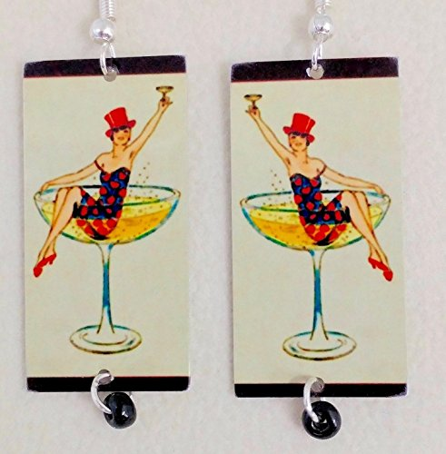 (Martini Girl, Cocktail Earrings, Mixed Media, Metal and Glass, Fun Vintage Art, Artist Designed,SHIPS FREE)
