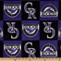 MLB Fleece Colorado Rockies Squares Purple/Black Fabric By The Yard