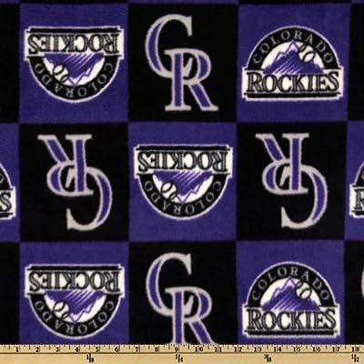 MLB Fleece Colorado Rockies Squares Purple/Black Fabric By The Yard