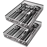 JANE EYRE Sturdy Utensil Drawer Organizer, Cutlery Tray, Silverware/Flatware Storage Divider for Kitchen, Mesh Designing with Non-slip Rubber Feet, 5 Compartments, Sliver-2 Pack
