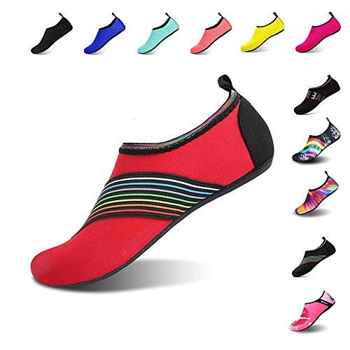 Mens Womens Water Shoes Barefoot Beach Pool Shoes Quick-Dry Aqua Yoga Socks For Surf Swim Water Sport Red.xb KfmUf879