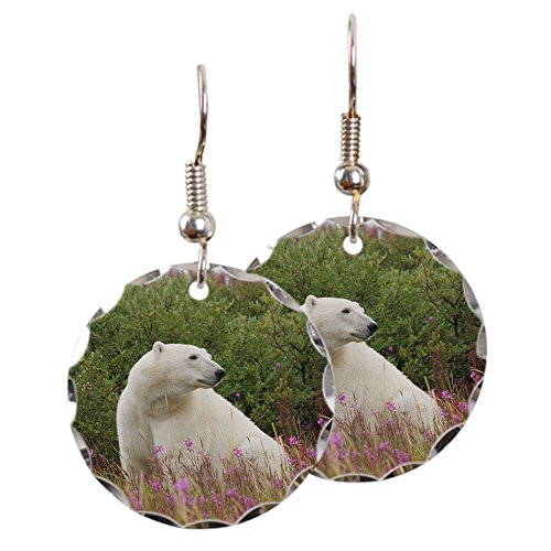 Earring Circle Charm Polar Bear on Canadian Tundra