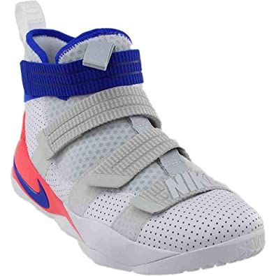 Nike Mens Lebron Soldier XI SFG Basketball Shoes White Infrared Pure  Platinum Racer 9a32bfa5b