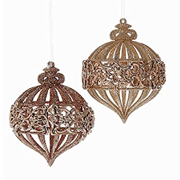 kurt adler 2 assorted rose gold glitter onion shaped christmas ornaments
