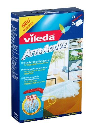 Vileda 111436 AttrActive Handstaubgerät - Einfaches Abstauben ohne Aufwirbeln, dank elektrostatischer Fasern - Starter Set: Handgerät inkl. 2 Bezüge