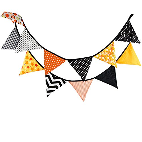 FuriGer Celebration of Life Decorations Vintage Cotton Fabric Buntings Garlands 12 Flags Halloween Party Decoration Orange Banner Pennant Rustic Hanging Decor]()
