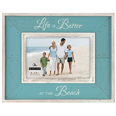 Malden Sun Washed Woods Vacation Memories Life is Better at the Beach Turquoise Distressed Picture Frame, 4 by 6-Inch