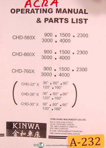 Acra Kinwa, CHD 560X, 660 & 760, Lathe, Operations & Parts List -