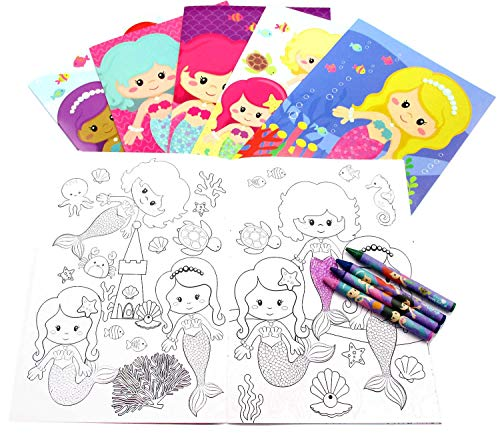 Set Crayon Party Favor (Mermaids Coloring Book Set with Crayons Party Favors, 12 pack)
