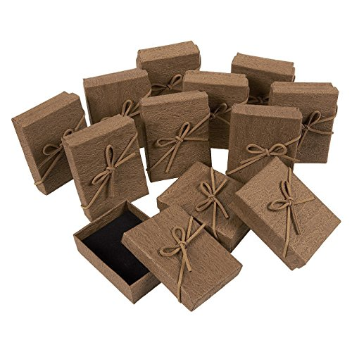 Gift Box Set - 12-Piece Jewelry Gift Boxes for Rings, Pendants, Necklaces - Ideal for Anniversaries, Weddings, Birthdays - Brown, 3.6 x 1 x 2.7 Inches ()
