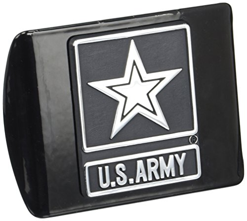 MVP Accessories US Army Black Metal Trailer Hitch Cover with Chrome Star Metal Logo