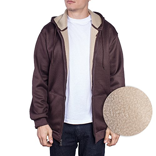 Mens Jacket Zip Up Hoodie Thermal Shell Sherpa Fleece Lining Sweater (Large, Chocolate) (Hoody Thermal Lined)