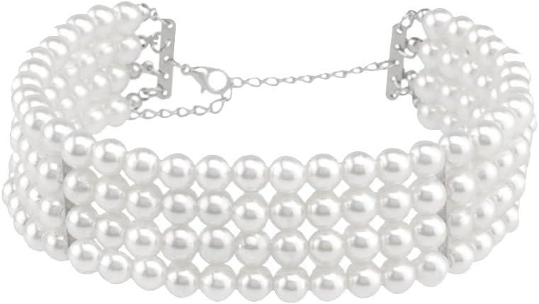 Gazechimp Collar Gargantilla de Perla de Imitación Multicapa Color Blanco Joyería para Boda Nupcial