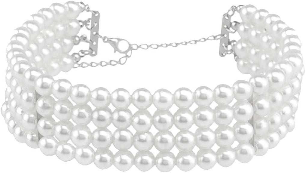 Ras du Cou en Perles Blanche Charms Collier Multicouches Bijoux